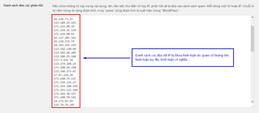 spam binh luan 2 - Thông báo về việc khóa địa chỉ IP (địa chỉ máy tính) do bình luận spam