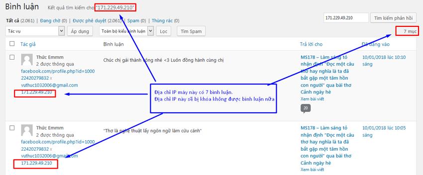 spam binh luan - Thông báo về việc khóa địa chỉ IP (địa chỉ máy tính) do bình luận spam