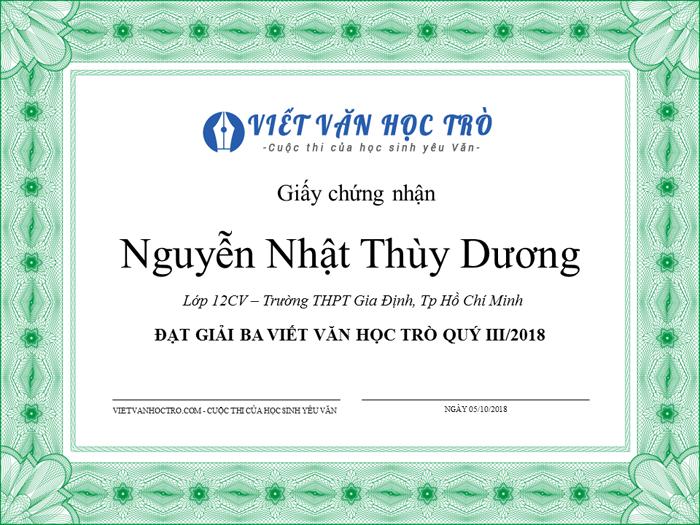 nguyennhatthuyduong - Thông báo Kết quả cuộc thi Viết văn học trò quý III/2018